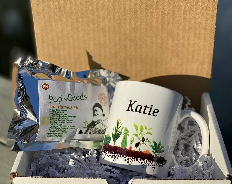 Personalized Gardener Gift Set - Fall Harvest Garden - Gift Mug - Seed Packs - Heirloom Organic Vegetable Seed Packs - Non-GMO