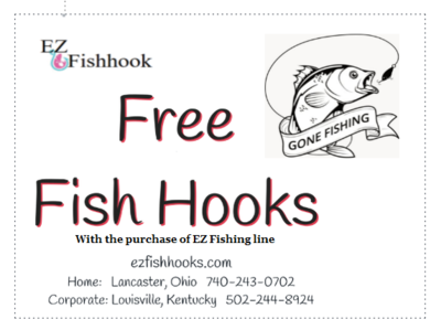 (FREE 6) # 4/0 Bass EZ Fishhooks® when you purchase (275 yards) 10 lb EZ Fishing packaged together for your convenience. Limited time offer.