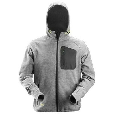 Snickers FlexiWork, Fleece Hoodie - GREY/BLACK
