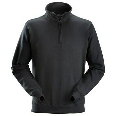 Sweatshirt met ½ Rits - zwart
