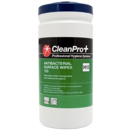 Clean Pro+ Antibacterial Surface Wipes - 150