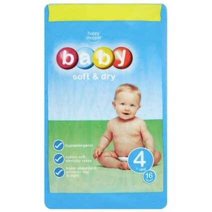 Happy Shopper Baby Soft & Dry - Size 4 (7-18kg) 48 Nappies