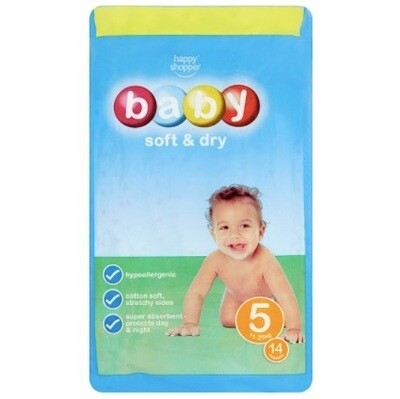 Happy Shopper Baby Soft & Dry - Size 5 - 11-25kg - 42 Nappies