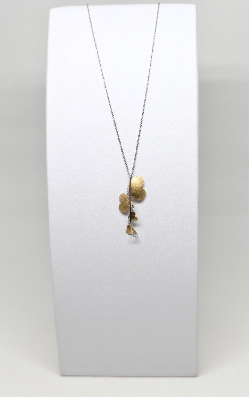 Collier en argent 925 rhodié et coeur doré, longueur 42-47 cm