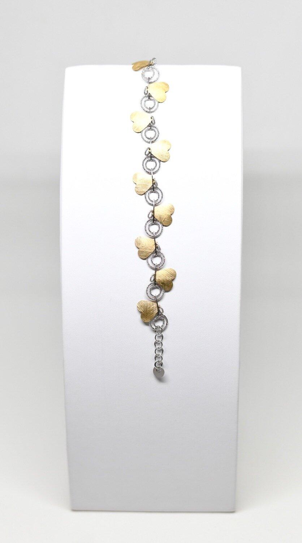 Bracelet en argent 925 rhodié et coeur doré, longueur 19 cm