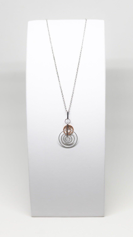 Collier en argent 925 rhodié avec pendentif, logueur 42-46cm