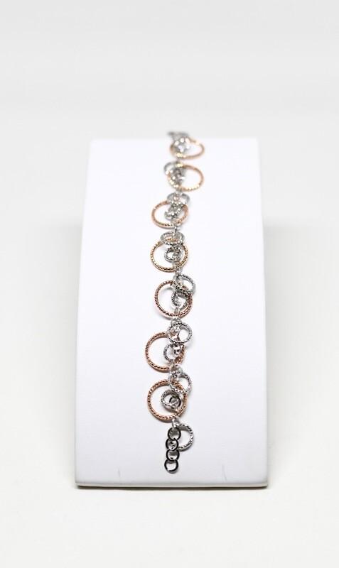 Bracelet en argent 925 rhodié et rosé, longueur 19cm