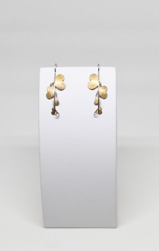Boucles d'oreilles en argent 925 rhodié et coeur doré