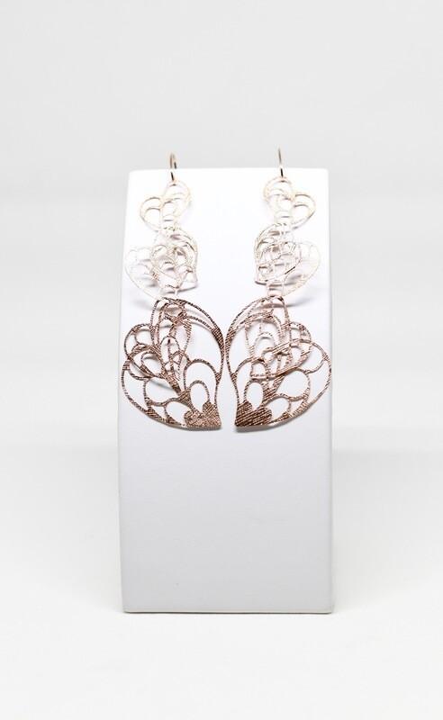 Boucles d'oreilles en argent 925 rosé , longueur 11cm