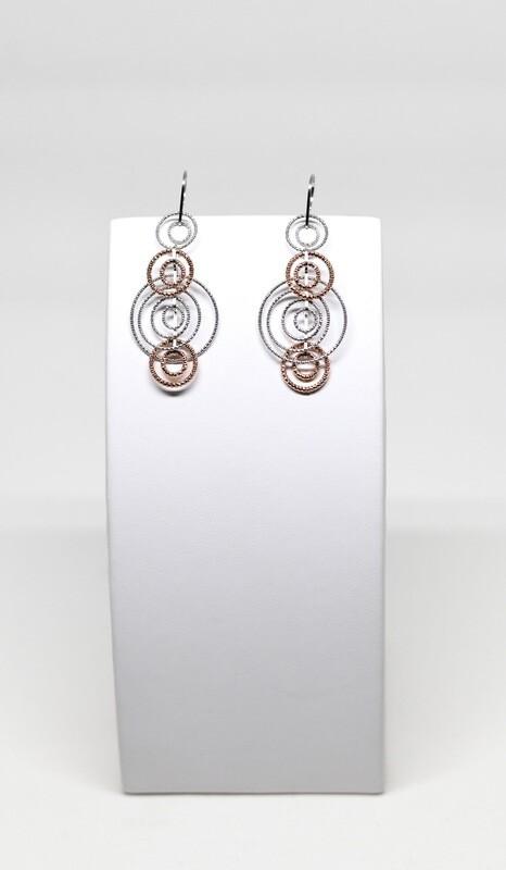 Boucles d'oreilles en argent 925 rhodié et rosé