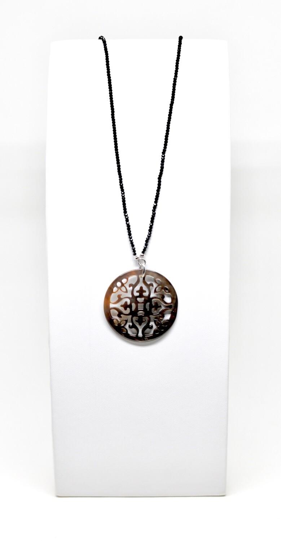 Collier en argent 925 rhodié, 80cm, pendentif fleur de vie argent 925