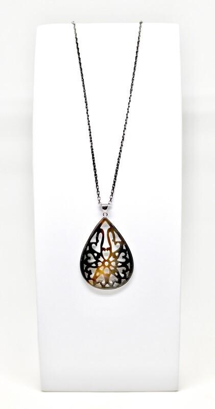 Collier en argent 925 rhodié, 45cm, pendentif arbre de vie  argent 925