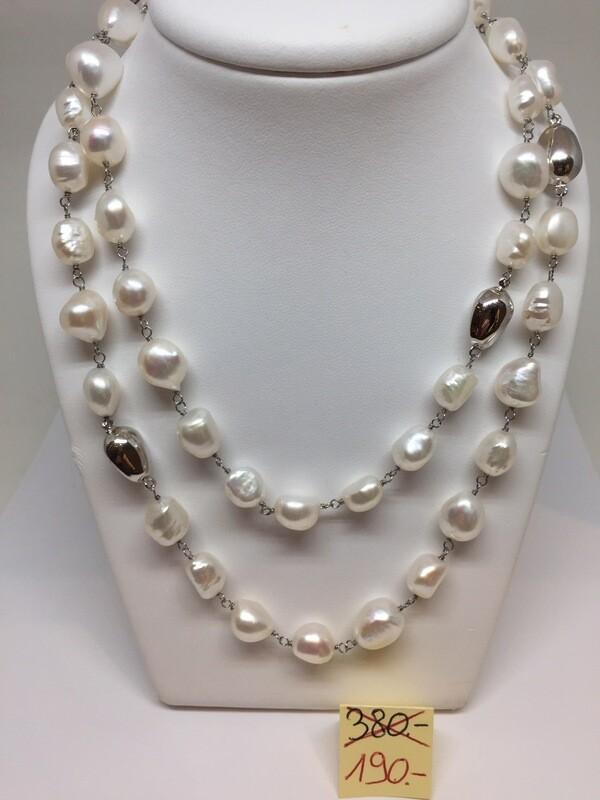 Collier 90cm  argent 925 perles d'eau douce . Prix Fr.380.- net 190.-
