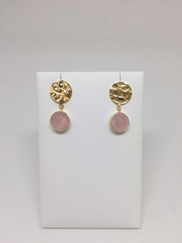 Boucles d'oreilles argent 925 doré quartz rose