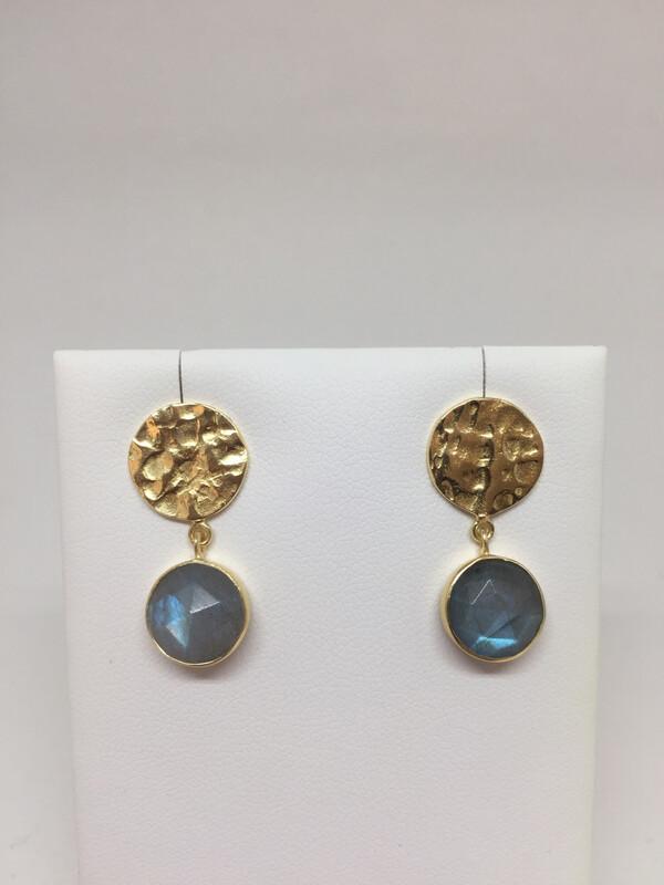 Boucles d'oreilles argent 925 doré labradorite