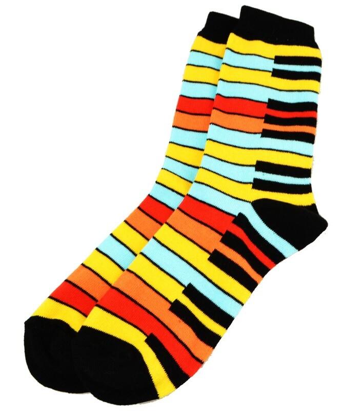 Yellow Rainbow Keyboard Socks