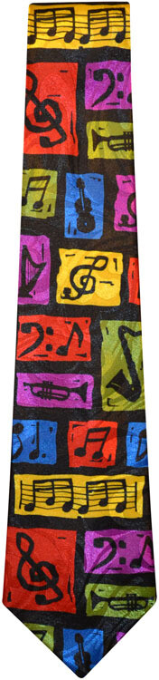 Colorful Music Notes and Instruments Tie