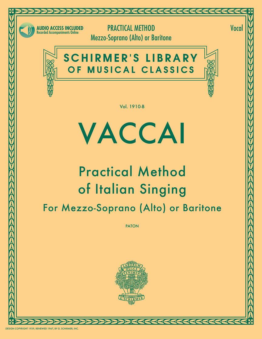 Vaccai: Practical Method of Italian Singing -  Mezzo-Soprano (Alto) or Baritone