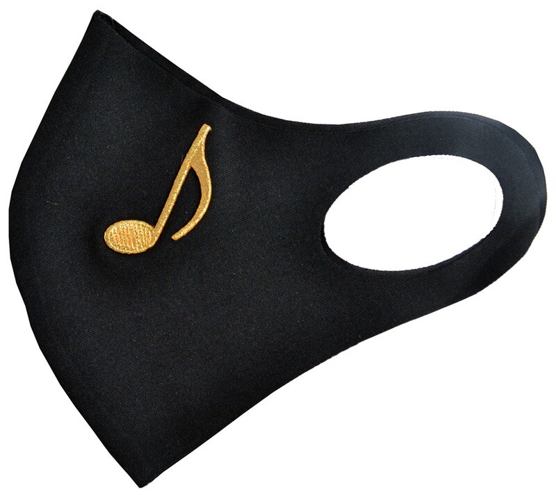 Music mask - black with gold eighth note
