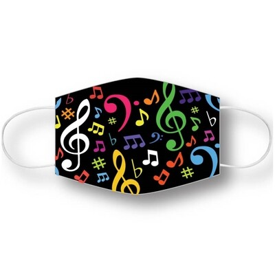 Music mask - black with multi-color notes