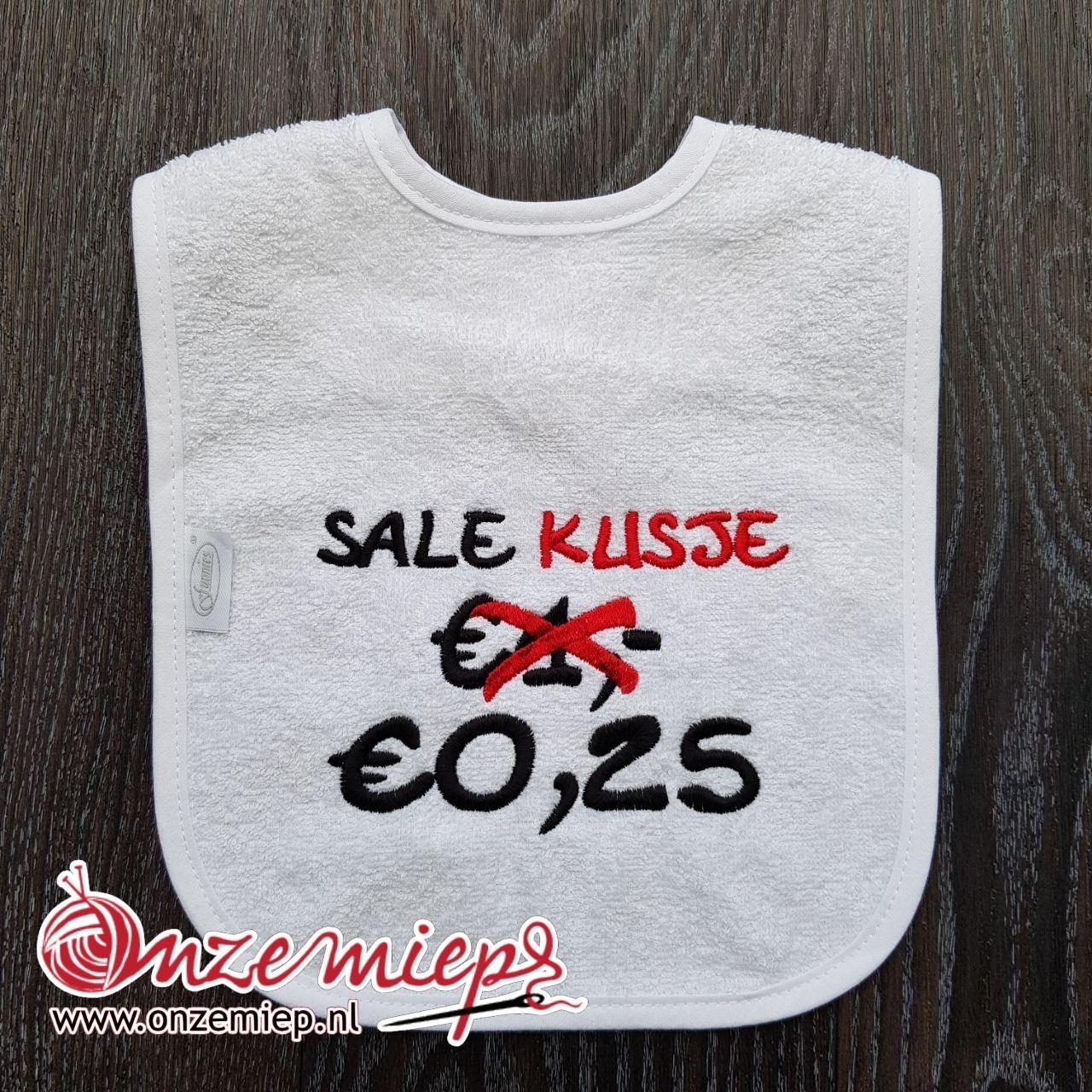 "Witte slab met ""Sale kusje €0.25"""