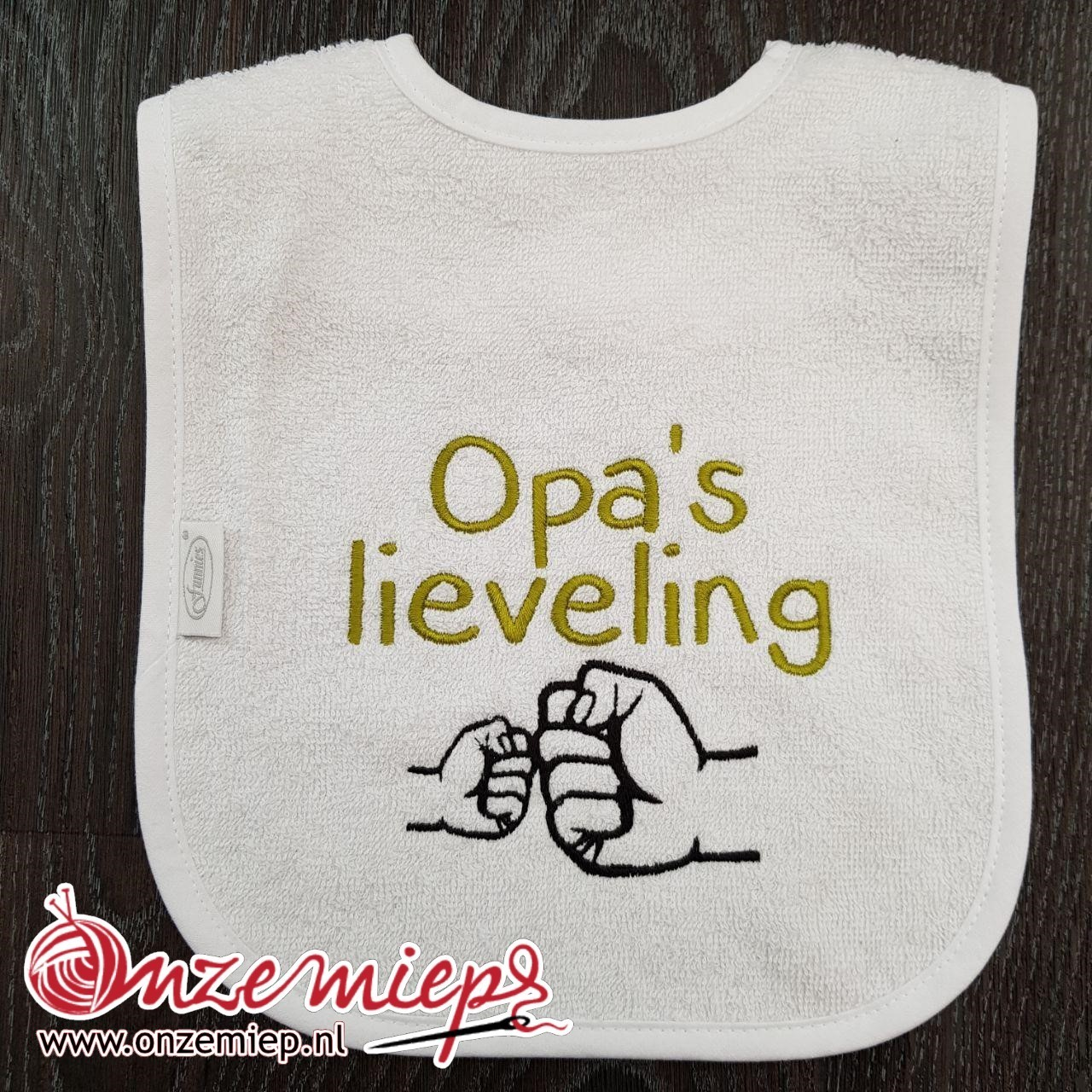 "Witte slab met ""Opa's lieveling"""