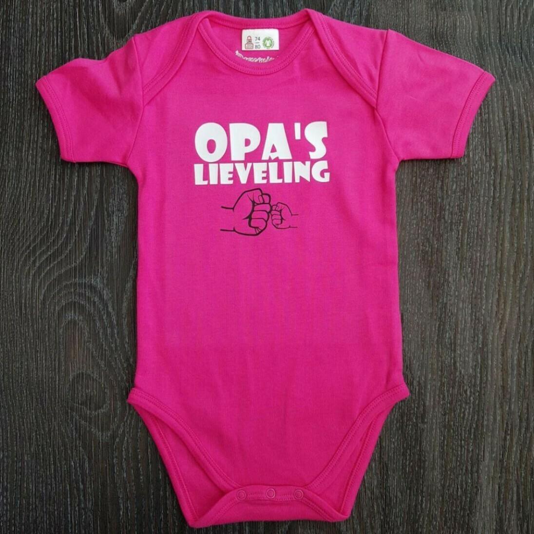 """Roze romper met """"Opa's lieveling"""" - maat 74/80"""