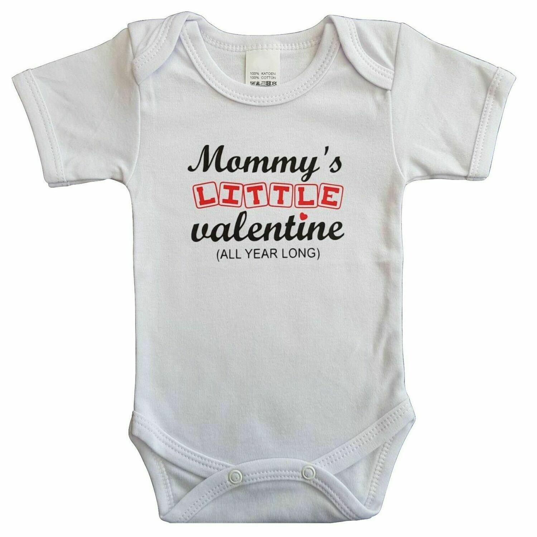 "Witte romper met ""Mommy's little valentine - All year long"" - 68"