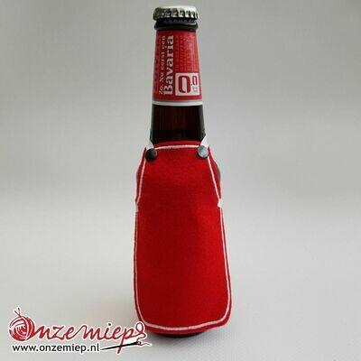Ontwerp uw eigen schortje voor bierfles - Rood