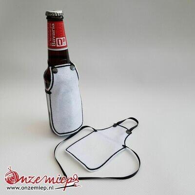 Ontwerp uw eigen schortje voor bierfles - Wit