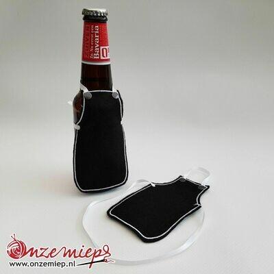 Ontwerp uw eigen schortje voor bierfles - Zwart
