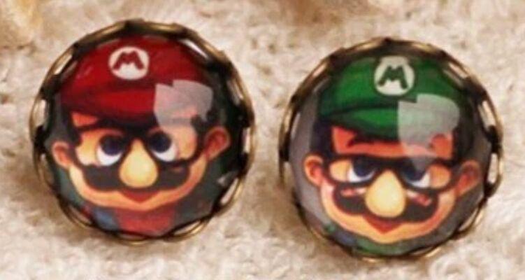 """Oorbellen (stekers) """"Mario en Luigi"""""""