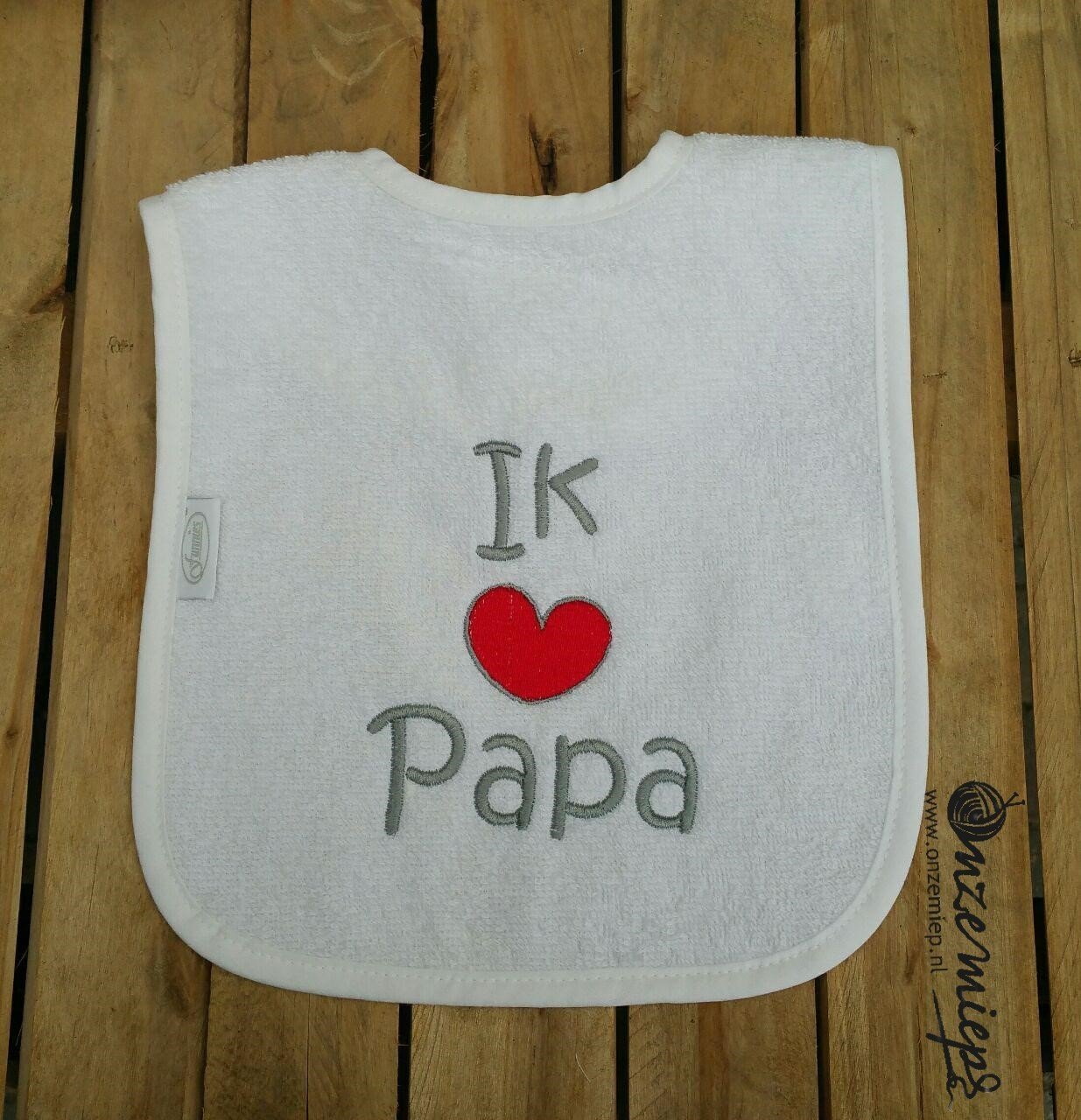 """Witte slab met """"Ik hou van papa"""""""
