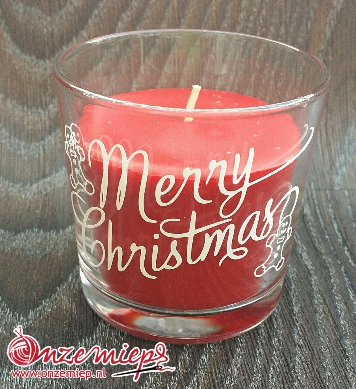 """Rode geurkaars met de tekst """"Merry Christmas"""""""