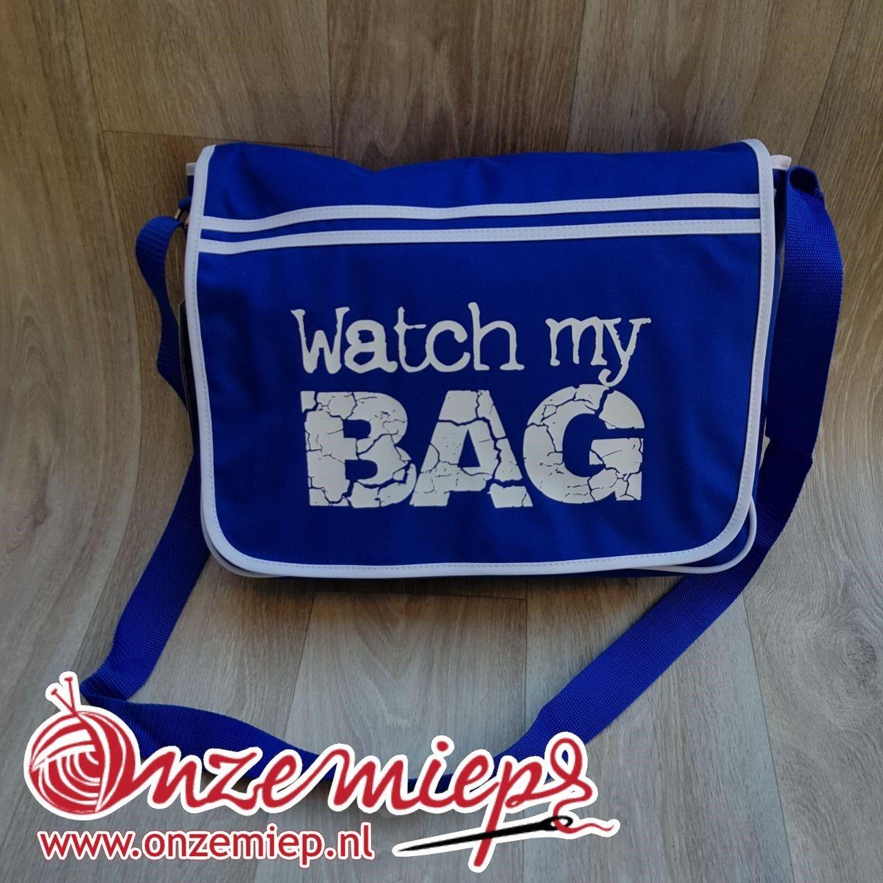 """Stoere blauwe retro schoudertas met """"Watch my bag"""""""