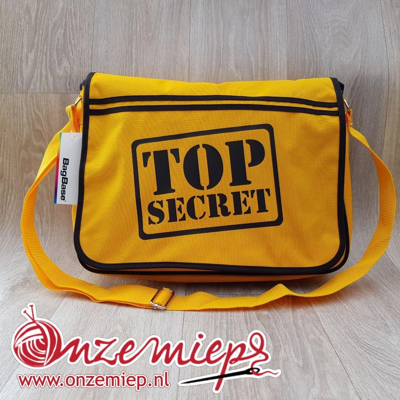 """Stoere gele retro schoudertas met """"Top secret"""""""