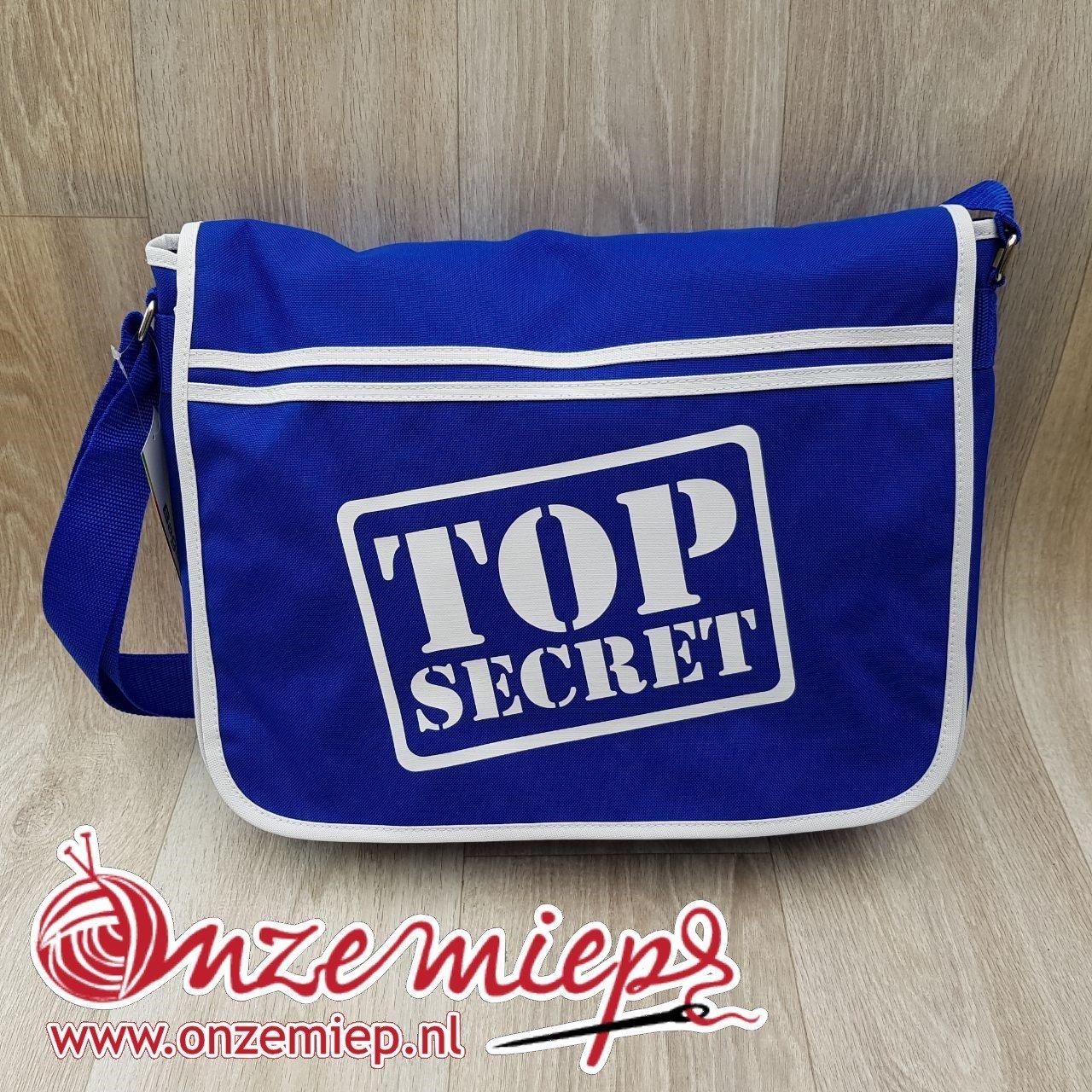 """Stoere blauwe retro schoudertas met """"Top secret"""""""