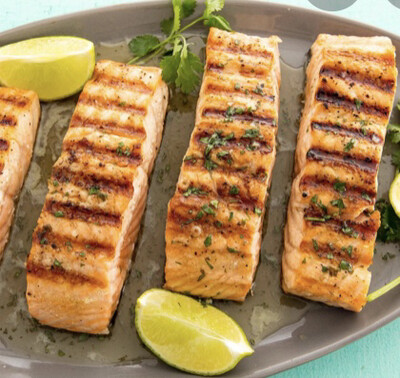 Grilled  Salmon With Verte Sauce