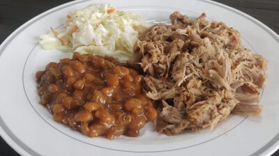 Pulled Pork Dinner Box With Baked Beans And Slaw Available Thursday
