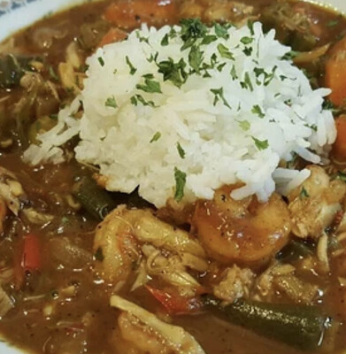 Shrimp Gumbo With Okra and Basmati Rice Available Thursday
