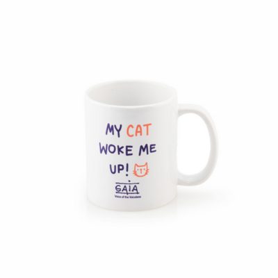 coffee mug 'My cat woke me up!'