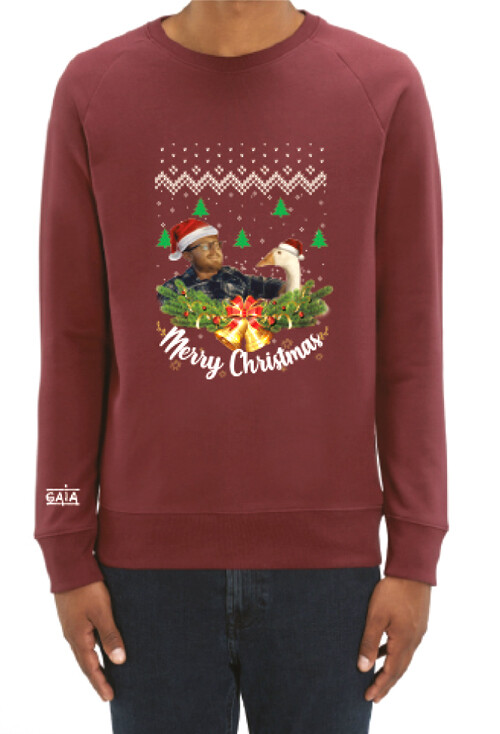 Christmas sweater 'No need to force feed' (NL)