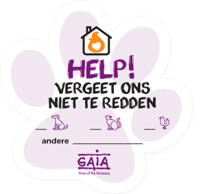 pet sticker 'HELP!' (NL)