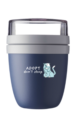lunch pot 'Adopt, don't shop'