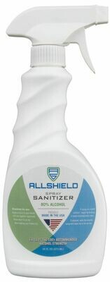 Allshield Sanitzer Spray, 16 oz Trigger Sprayer, 12 per case