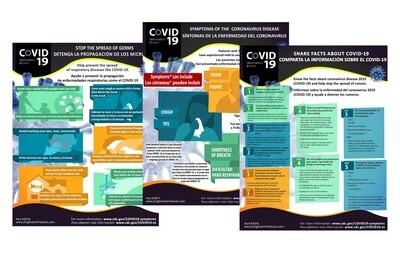 Coronavirus Posters - Set of 3, Bilingual, 20Hx16W, Spanish/English