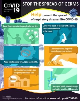 Coronavirus Poster - Stop the Spread, 20Hx16W, English