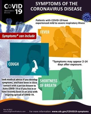 Coronavirus Poster - Symptoms, 20Hx16W, English