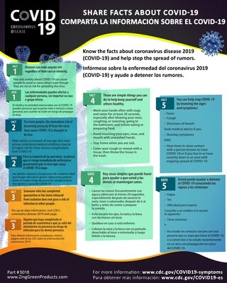 Coronavirus Poster - Share The Facts - Bilingual, 20Hx16W, Spanish/English