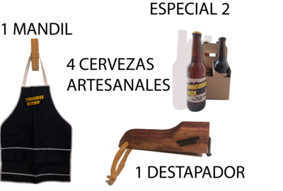 Especial 2 ( 4 Pack Cerveza Mixto + Destapador + Mandil )